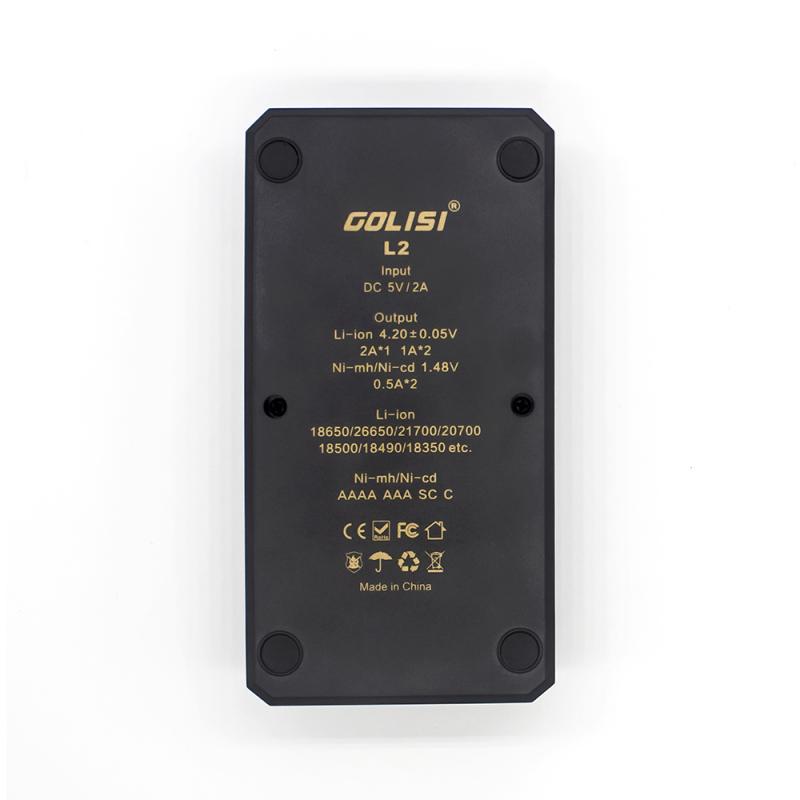 information på baksida av golisi l2 laddare - liten kompakt och smart