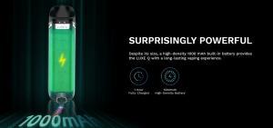 Vaporesso Luxe Q podkit med kraftfullt 1000mAh batteri för lång vejptid, och laddar fullt på ca 1 tim tack vare  C-laddning.
