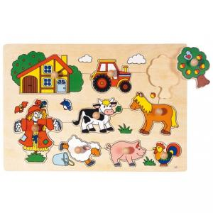 Goki, Lift Out Puzzle, Wooden, 8 Pieces, (Farmanimals for 1+ years)
