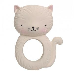 A Little Lovely Company Teething Ring Natural Rubber Cat