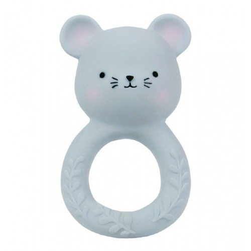A Little Lovely Company Teething Ring Natural Rubber Mouse