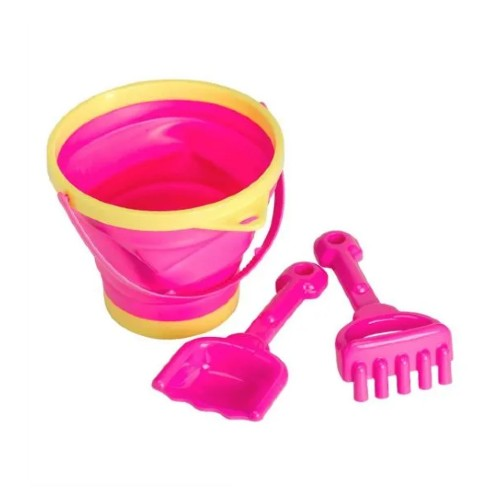 A Little Lovely Company Beach Set with Bucket, Rake and Spade - Pink and Yellow