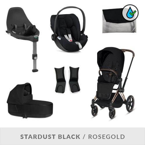 Cybex Priam Komplett Barnvagnspaket - Stardust Black / Rosegold Chassi
