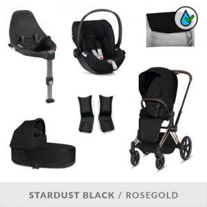 Cybex Priam Complete Stroller Set Stardust Black Rosegold Chassi