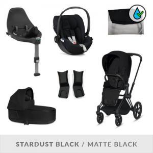 Cybex Priam Complete Stroller Set Stardust Black Plus-Fabric