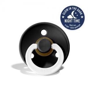 Bibs Rund Napp Stl 1 (ca 0-6 mån) Black Night - Lyser i Mörkret
