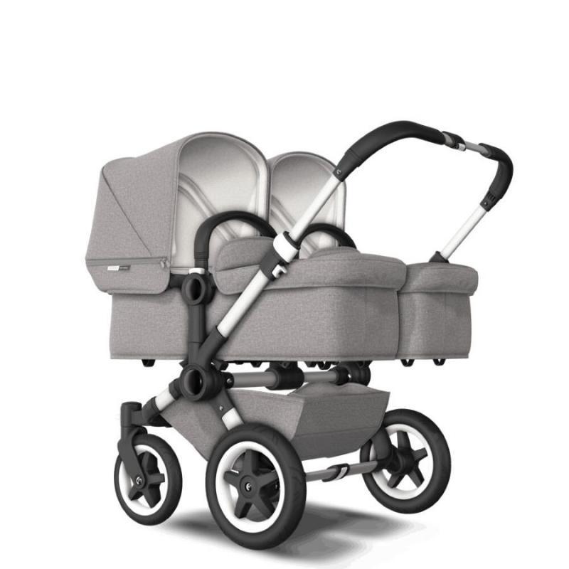 Bugaboo Donkey2 Twin Mineral Light Grey Komplett barnvagn Aluminium Chassi