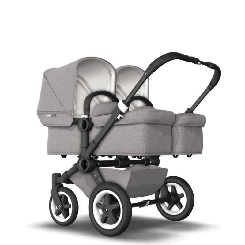 Bugaboo Donkey2 Twin Mineral Light Grey Komplett barnvagn Svart Chassi