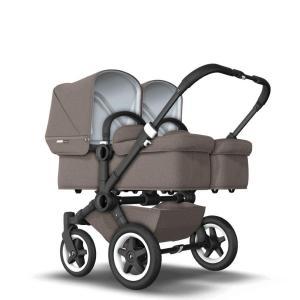 Bugaboo Donkey2 Twin Mineral Taupe Komplett barnvagn Svart Chassi