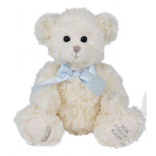 Bukowski Min första björn Nalle 30cm Vit Nalle Blå rosett Leoni