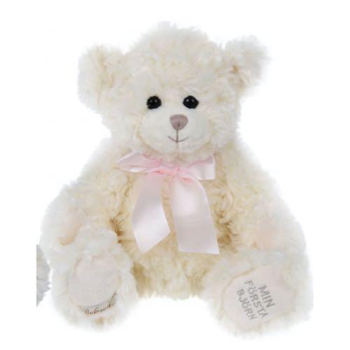 Bukowski Min första björn Nalle 30cm Vit Nalle Rosa rosett Antonio S