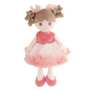 Bukowski Rag Doll Suzie 25 cm - Brown Hair & Apricot Dress