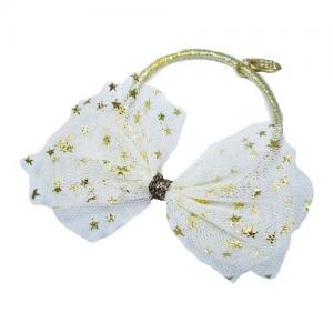 Busy Lizzie Hair Nod Bow White With Gold Stars