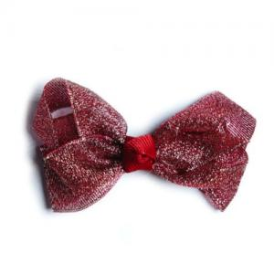 Busy Lizzie Hair Clip With A Big Bow Glitter Red