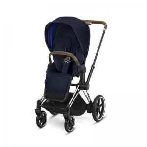 Cybex ePriam Chrome Chassis Brown Leatherette & LUX Seat Indigo Blue
