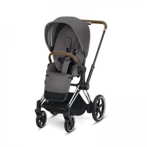 Cybex ePriam Chrome Chassis Brown Leatherette & LUX Seat Manhattan Grey