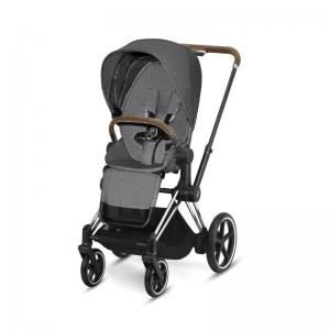 Cybex ePriam Chrome Chassi Brunt Handtag & LUX Sittdel Manhattan Grey PLUS -tyg