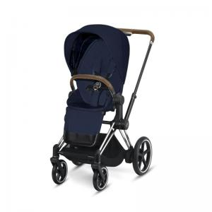 Cybex ePriam Chrome Chassis Brown Leatherette & LUX Seat Midnight Blue PLUS -fabric