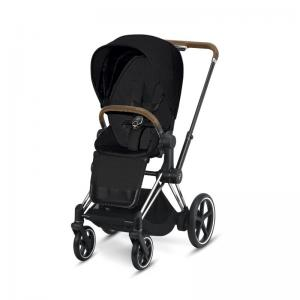 Cybex ePriam Chrome Chassis Brown Leatherette & LUX Seat Stardust Black PLUS -fabric