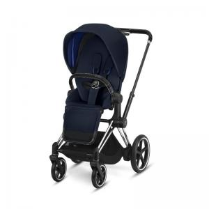 Cybex ePriam Chrome Chassis Black Leatherette & LUX Seat Indigo Blue