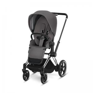 Cybex ePriam Chrome Chassis Black Leatherette & LUX Seat Manhattan Grey