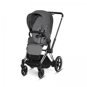 Cybex ePriam Chrome Chassis Black Leatherette & LUX Seat Manhattan Grey PLUS -fabric