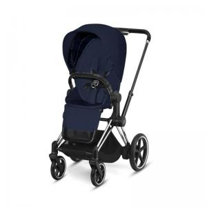 Cybex ePriam Chrome Chassis Black Leatherette & LUX Seat Midnight Blue PLUS -fabric