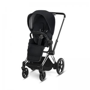 Cybex ePriam Chrome Chassis Black Leatherette & LUX Seat Premium Black