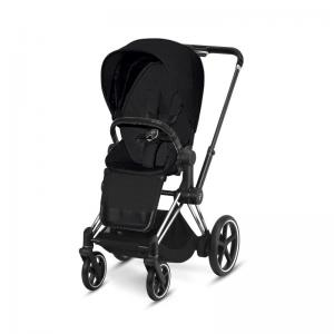 Cybex ePriam Chrome Chassis Black Leatherette & LUX Seat Stardust Black PLUS -fabric