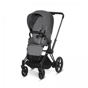 Cybex ePriam Matt Black Chassi & LUX Sittdel Manhattan Grey PLUS -tyg