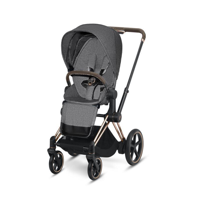Cybex ePriam Rosegold Chassis & LUX Seat Manhattan Grey PLUS -fabric
