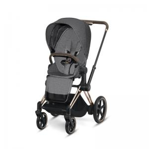 Cybex ePriam Rosegold Chassis & LUX Seat Manhattan Grey PLUS -fabric