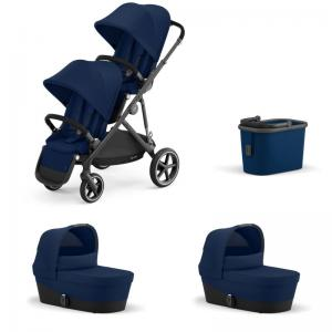 Cybex Gazelle S Black Frame NAVY BLUE - Twin Stroller
