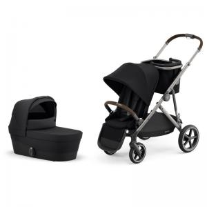 Cybex Gazelle S Taupe Frame DEEP BLACK - Pushchair & One Cot