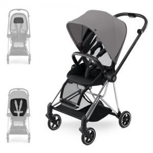 Cybex Mios Stroller Chrome Chassis Grey Melange Color Pack & Stardust Black Comfort Inlay
