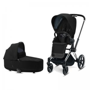 Cybex Priam Complete Stroller with Chrome Chassis Black Leatherette LUX Seat & LUX Carry Cot Deep Black