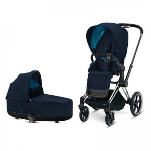 Cybex Priam Complete Stroller with Chrome Chassis Black Leatherette LUX Seat & LUX Carry Cot Nautical Blue