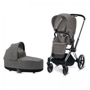 Cybex Priam Complete Stroller with Chrome Chassis Black Leatherette LUX Seat & LUX Carry Cot Soho Grey