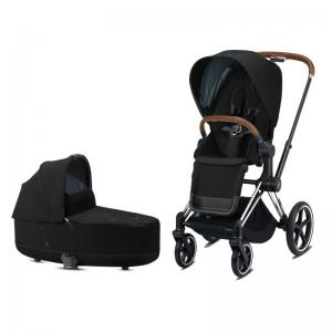 Cybex Priam Complete Stroller with Chrome Chassis Brown Leatherette LUX Seat & LUX Carry Cot Deep Black