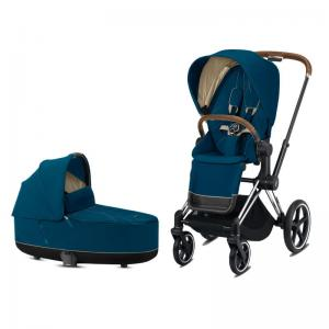 Cybex Priam Complete Stroller with Chrome Chassis Brown Leatherette LUX Seat & LUX Carry Cot Mountain Blue
