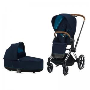 Cybex Priam Complete Stroller with Chrome Chassis Brown Leatherette LUX Seat & LUX Carry Cot Nautical Blue