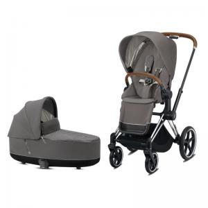 Cybex Priam Complete Stroller with Chrome Chassis Brown Leatherette LUX Seat & LUX Carry Cot Soho Grey