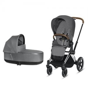 Cybex Priam Complete Stroller with Chrome Chassis Brown Leatherette LUX Seat & LUX Carry Cot Manhattan Grey PLUS fabric