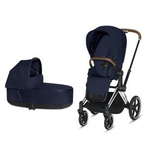 Cybex Priam Complete Stroller with Chrome Chassis Brown Leatherette LUX Seat & LUX Carry Cot Midnight Blue PLUS fabric
