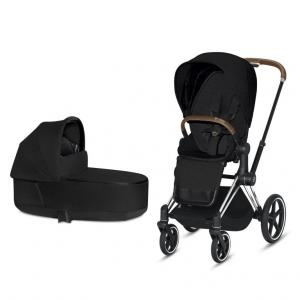 Cybex Priam Complete Stroller with Chrome Chassis Brown Leatherette LUX Seat & LUX Carry Cot Stardust Black PLUS fabric