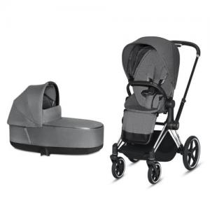 Cybex Priam Complete Stroller with Chrome Chassis Black Leatherette LUX Seat & LUX Carry Cot Manhattan Grey PLUS fabric