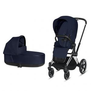 Cybex Priam Complete Stroller with Chrome Chassis Black Leatherette LUX Seat & LUX Carry Cot Midnight Blue PLUS fabric
