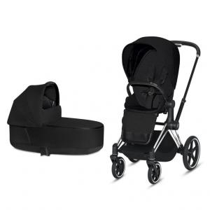 Cybex Priam Complete Stroller with Chrome Chassis Black Leatherette LUX Seat & LUX Carry Cot Stardust Black PLUS fabric