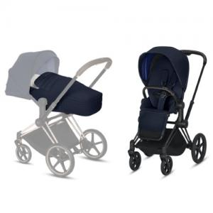 Cybex Priam Complete Stroller with Matt Black Chassis LUX Seat & LITE Cot Indigo Blue NEW!