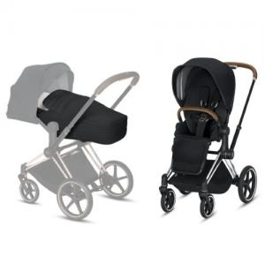 Cybex Priam Complete Stroller with Chrome Chassis Brown Leatherette LUX Seat & LITE Cot Premium Black NEW!
